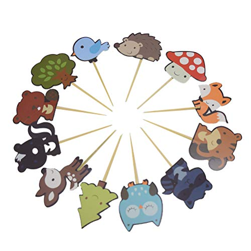 36 Pack Woodland Creatures Jungle Animals Cupcake Muffin Toppers Picks for Baby Shower Birthday Party Cake Toppers Decorations -