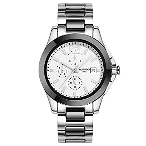 Topwatch Sangdo Luxury Mens Ceramic Band Bezel Multi Display Automatic Mechanical White Dial Watch (Sangdo Automatic Watches)
