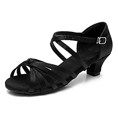 HROYL Women's Satin Latin Dance Shoes Ballroom Salsa Tango Performance Shoes Low Heel Model-SS-XGG