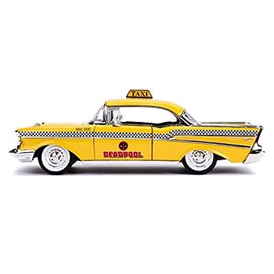 Jada 1957 Chevrolet Bel Air Taxi Yellow with Deadpool Die-cast Figure Marvel Series 1/24 Die-cast Model Car 30290, Multicolor: Toys & Games