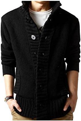 【ノーブランド品】厚手 リブニット カジュアル カーディガン お兄系 アウター メンズ (4色選択 ブラック/グレー/ベージュ/ブルー) (XL, ブラック)