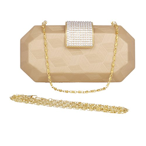 Bags Beaded Evening Day Clutch Womens Bag Saturn of Chain Mental Champagne Dinner w8qUvp
