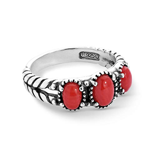 American West Sterling Silver Red Coral Gemstone 3-Stone Friendship Ring Size 7