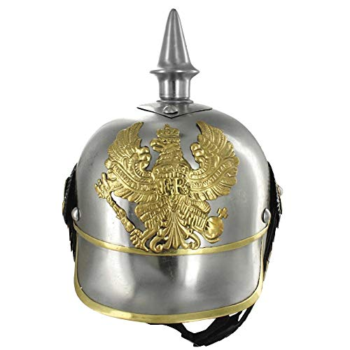 - AnNafi German Pickelhaube Military Helmet |Steel Imperial Prussian Officer Spiked | WWI & WWII Helmets Replica