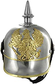 AnNafi German Pickelhaube Military Helmet  Steel Imperial Prussian Officer Spiked   WWI & WWII Helmets Rep