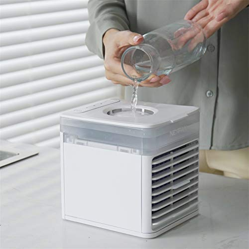 Portable Air Conditioner Fan, Napoo 3-Gear Mini Evaporative Personal Portable AC Unit Circulator Swamp Cooler for Office, Camping Tent, Car, Vehicle, Bedroom, 7 Colors Night Light