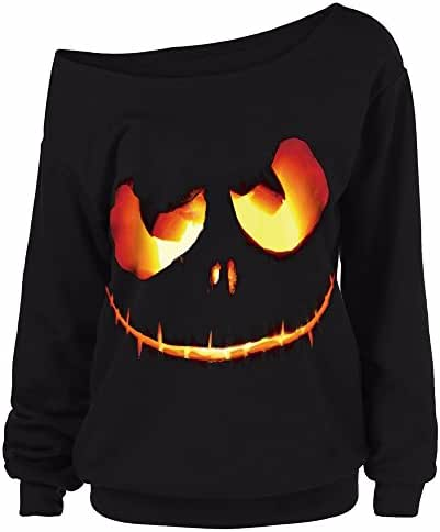 Women Halloween Pumpkin Devil Off Shoulder Sweatshirt Long Sleeve Pullover Tops Blouse Slouchy Shirt Plus Size