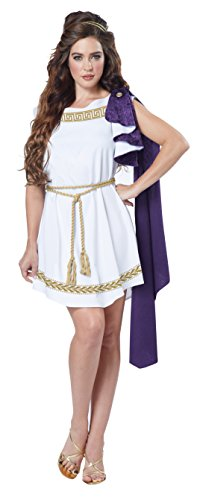 California Costumes Women's Grecian Toga Dress, White/Purple Large -