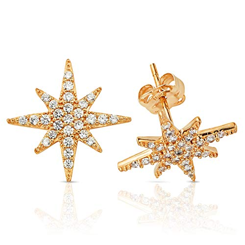 Jewel Connection Sparkling CZ Encrusted Starburst Stud Earrings in 14K Yellow Gold