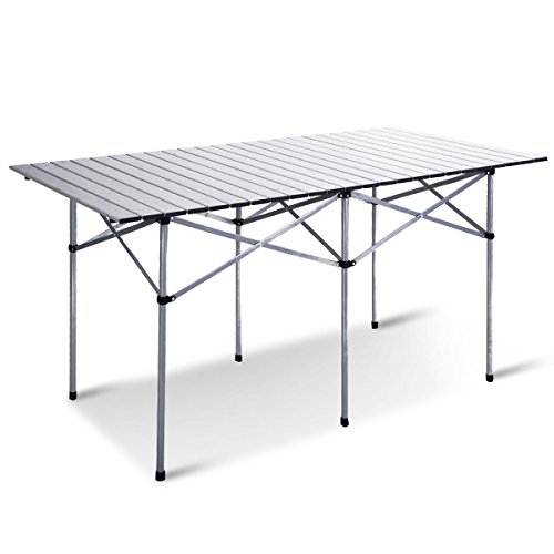 Giantex Roll Up Portable Folding Camping Square Aluminum Picnic Table w/Bag (55