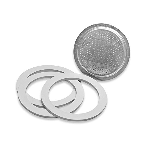 (Replacement Gaskets & Filter Set for Bialetti Moka Express 6-Cup Espresso Maker)