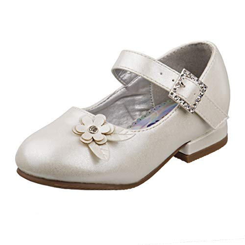 Josmo Girls Low Heel Dress Shoes with Rhinestone Buckle and Flower (9 M US Toddler, ()