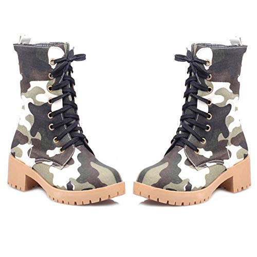 SANOMY Women Lace Up Mid Calf Boots Camouflage Round Toe Platform Shoes Warm Fur Winter Outdoor Footwear ()