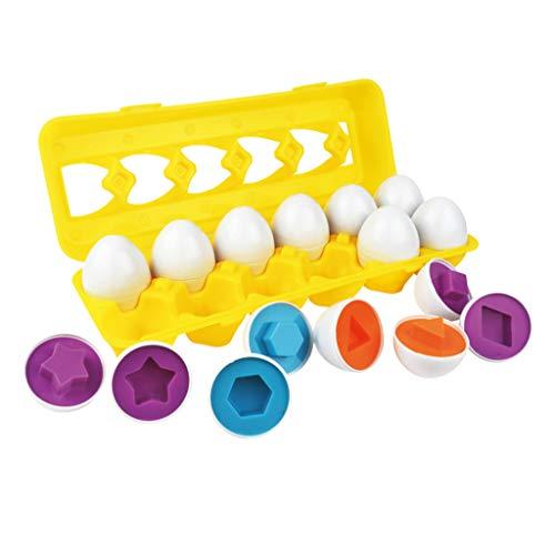 CMrtew 12PCS Kids Smart Eggs Match Game Puzzles Shape Colors Sorter Set Training Preschool Educational Toys for Baby Children Gift