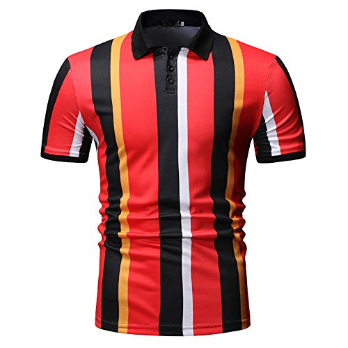Polo Shirt Big and Tall Short Sleeve Stretch Casual Stripe for Men(Red,M) ()
