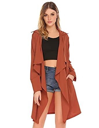 Mofavor Women's Lightweight Lapel Draped Outwear Open Front Long Trench Coat Cardigan Orange Red S