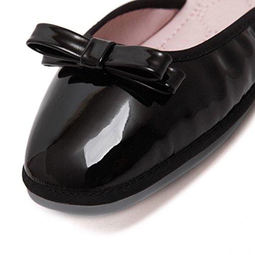 Cuxialilin Kvinna Lackläder Fylld Fyrkant Stängd Tå Bowknot Flats-skor Svart