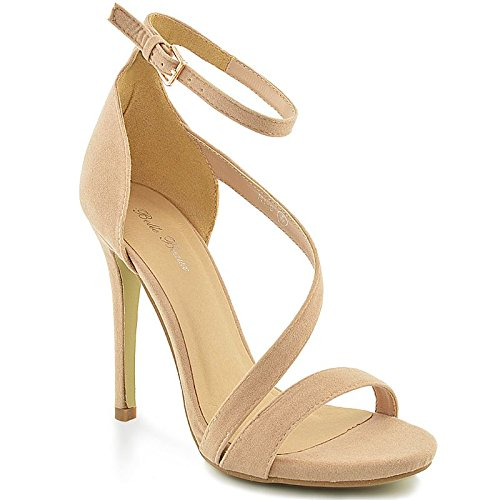 WOMENS HIGH HEEL PLATFORM LADIES ANKLE STRAP PROM PARTY SHOES SANDALS SIZE 3-8 Nude Faux Suede ct5VH3Lr