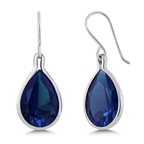 Blue Simulated Sapphire 925 Sterling Silver Dangle Earrings ()