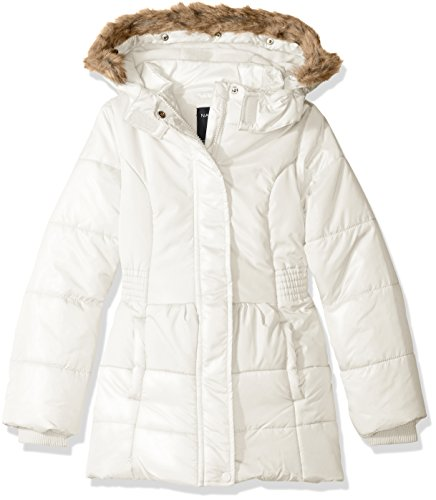Nautica Big Girls Heavy Weight Shine Jacket With Faux Fur Trim, Cream, 8