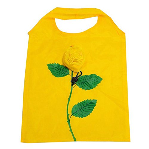 mk. park - New Women Shopping Bag Recycle Floral Handbag Outdoor Portable Tote Holder Pouch (Yellow)