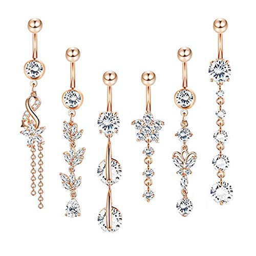 YOVORO 6PCS 14G 316L Stainless Steel Belly Button Rings for Women Navel Rings Barbell Dangle Flower CZ Body Piercing (D: 6 Pcs - Dangle Flower Ring Belly