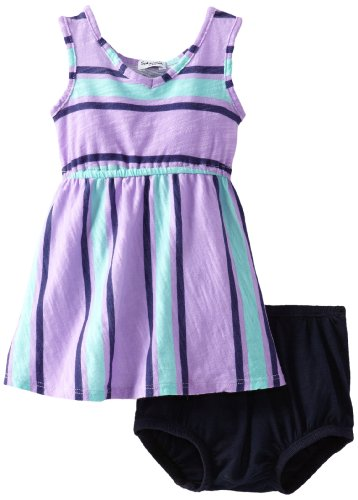 Santorini Stripe - Splendid Littles Baby-Girls Newborn Santorini Stripe Dress and Bloomer, Grapesicle, 6-12 Months