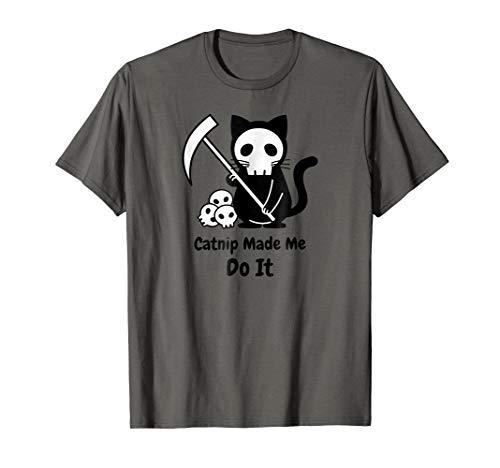 Catnip Made Me Do It Black Cat Shirt Halloween Skull -