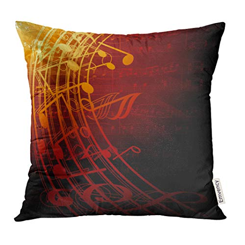 UPOOS Throw Pillow Cover Red Music Musical Notes Brown Jazz Symphony Decorative Pillow Case Home Decor Square 16x16 Inches Pillowcase