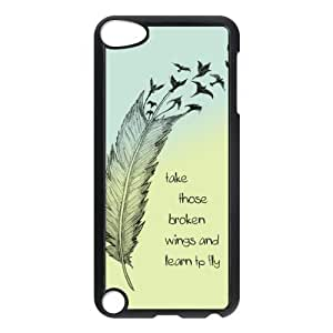 iPod 5 Case,Hipster Feather Quote Hard Snap-On Cover Case for iPod Touch 5, 5G (5th Generation)