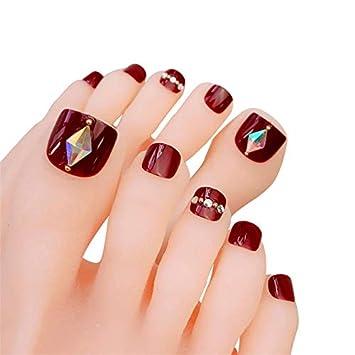 uñas decoradas para pies con piedras