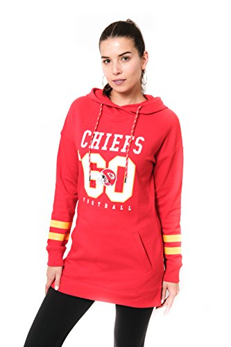 (Icer Brands NFL Kansas City Chiefs Women's Tunic Hoodie Pullover Sweatshirt Terry, X-Large, Red)