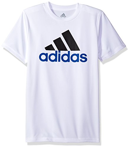 adidas Boys Big Short Sleeve Logo Tee Shirt, White, L (14/16)