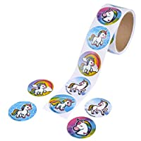 """Bark and Lindy Unicorn Stickers Roll of 100 - 1.5"""" Emoticon Unicorn Stickers for Party Favors Craft Projects"""