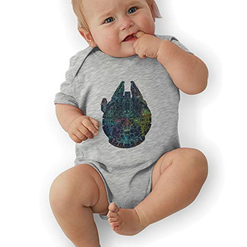 Hhyingb Millenium Falcon Painted Schematic Child Funny Jersey Short Sleeve Bodysuit 12M Gray ()