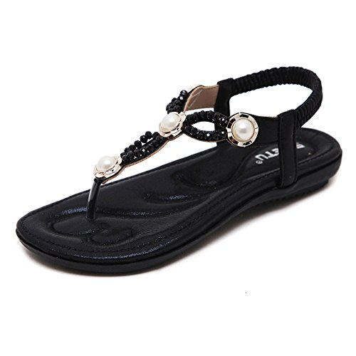 Shoes Flat Summer Beeded Flip Post Sandals Flops for Ladies Sandals Women Beach Ruiren Black wz5qxfvtX