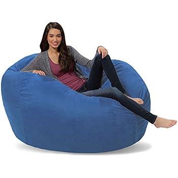 Comfy Sacks 5 Ft Lounger Memory Foam Bean Bag Chair Royal Blue Micro Suede