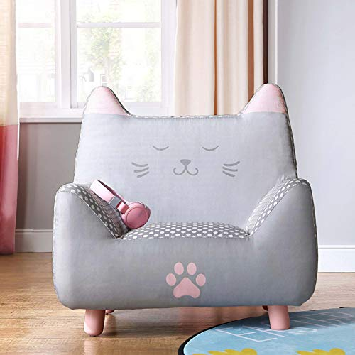 (WAYERTY Kid Sofa, Children's Armchair Cartoon Girl Princess Furniture Seat Small Sofa Single Mini Child Couch Bedroom Kid Chair-Gray)