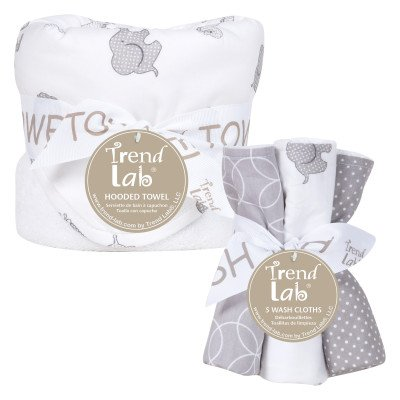 Trend Lab 6 Piece Hooded Towel and Wash Cloth Set, Safari Ch