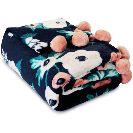 Mainstays Pompom Throw Blanket (Floral Navy), 50 x 60 Floral Blanket