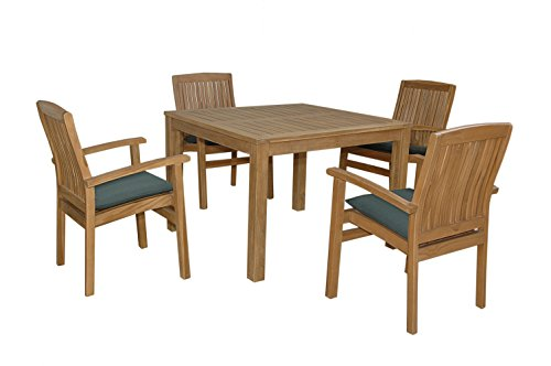 Anderson Teak Chatsworth Bistro Furniture Set with Stackable Dining Armchair, Maxim Heather (Anderson Teak Furniture)
