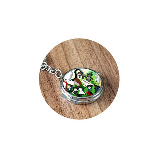 Creepypasta Necklace for Fans Jeff the Killer Ticci Toby Clockwork Anime Patterns Glass Dome Long Folding Mirror Travel Portable Compact Pocket Round Cosmetic