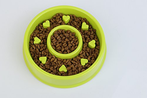 Slow Feeder Bowl Pets Bowls Fun Interactive Feeder Slow Feed And Drink Water Bowl Healthy Eating Diet Bloat Stop Happy Foraging Bowl For Dog Cat Pet (Green) -  Ysxuan-Pet Bowls