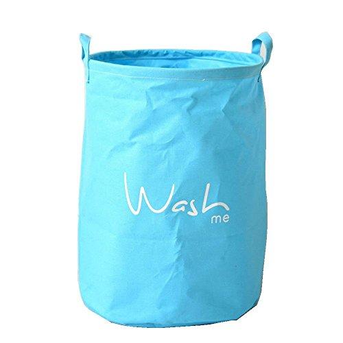 Aiyani Cotton Linen Quote Series Fodable Large Blue Storage Laundry Basket/ Nursery Hamper - Wash Me