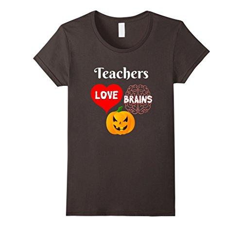 [Womens Teachers Love Brains Scary Halloween Gift for Teachers Large Asphalt] (Super Teacher Costume Ideas)