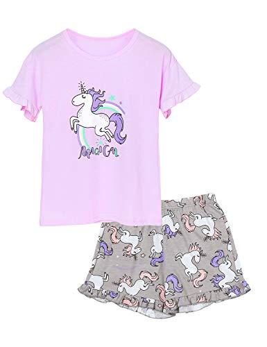 Cozchique Big Girls Summer Pajamas Cute Unicorn Ruffle Sleepshirt & Shorts Clothes Set Tween Size 16, Violet & Grey -