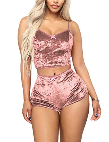 Women's Velvet 2 Piece Outfit Spaghetti Strap Backless Crop Top and Bodycon Shorts Set Clubwear Brown M