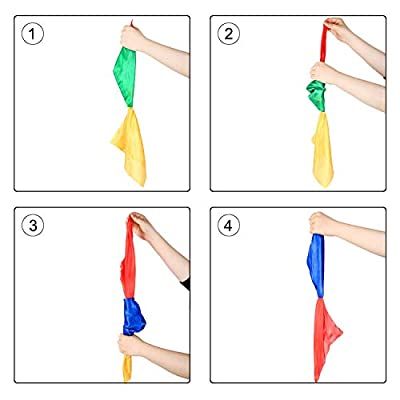 YAO & BEI Color Changing Magic Scarf for Magic Trick Silk Hanky Magic Props for Street Magic Party School Home Toys 4 Pack: Toys & Games