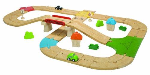 PlanToys City Road and Rail Roadway Set