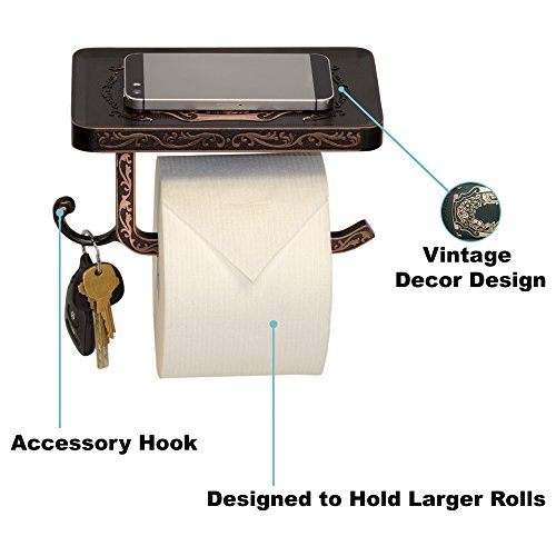 Reversible Bathroom Toilet Paper Holder with Phone Shelf and Hook, Vintage Decor Style (Oil Rubbed Bronze)